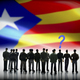 Free Download Several men looking at the flag of Catalonia, conceptual image Nulled