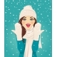 Surprised Woman in Snowfall - GraphicRiver Item for Sale