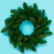 Winter and Christmas wreath with fir isolated on blue background. Top view - PhotoDune Item for Sale