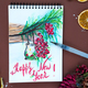 Handmade Watercolor colorful greeting decoration Christmas with holly berries and latern. Happy New - PhotoDune Item for Sale