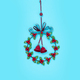 Winter and Christmas metal wreath isolated on blue background - PhotoDune Item for Sale