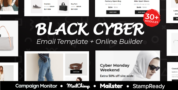 Blackcyber - Black Friday & Cyber Monday Responsive Email Template + Online Builder & Mailchimp - Newsletters Email Templates