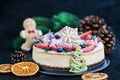 Delicious Christmas ginger cheesecake with fresh berries decorat - PhotoDune Item for Sale