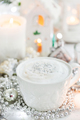 White cup of hot cappuccino coffee on holiday white and silver b - PhotoDune Item for Sale