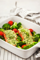 Raw fresh delicious salmon with pesto sauce, green broccoli and - PhotoDune Item for Sale