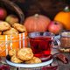Fresh homemade delicious apple cookies and cup of hot red tea - PhotoDune Item for Sale