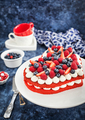 Delicious homemade heart shaped red velvet cake decorated with c - PhotoDune Item for Sale