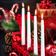 Four Christmas Advent candles and holiday decorations around on - PhotoDune Item for Sale