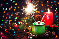 Green mug of hot chocolate with marshmallows, candy cane and spa - PhotoDune Item for Sale