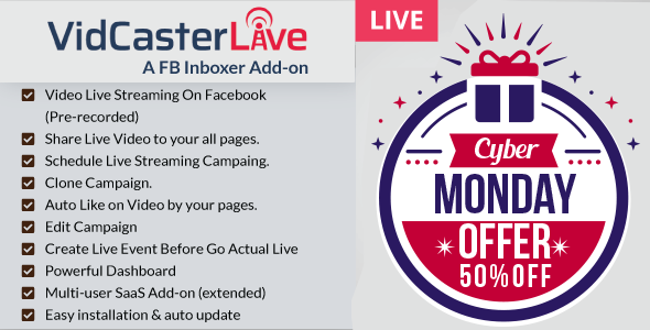 VidCasterLive - A FB Inboxer Add-on : Facebook Live Streaming With Pre-recorded Video            Nulled