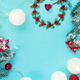 Christmas and New Year holidays background with Christmas wreaths, balls and toys , winter season - PhotoDune Item for Sale