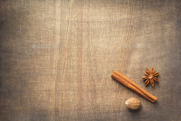 Spices And Ingredients On Wooden Table