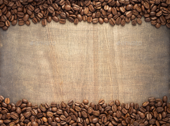 coffee beans on wooden background - Stock Photo - Images