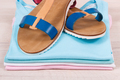 Womanly leather sandals and shirts, comfortable clothing concept - PhotoDune Item for Sale