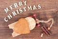Fresh gingerbread on sled and inscription Merry Christmas - PhotoDune Item for Sale