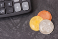 Bitcoins and calculator, cryptocurrency and international network payment concept - PhotoDune Item for Sale