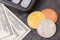 Bitcoins, dollar and calculator, cryptocurrency and international network payment concept - PhotoDune Item for Sale