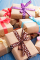 Wrapped gifts with ribbons for Christmas or other celebration - PhotoDune Item for Sale