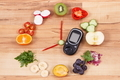 Glucose meter with fruits and vegetables in shape of clock, healthy eating for breakfast concept - PhotoDune Item for Sale