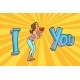 I Love You. Young Woman with Red Heart Valentine - GraphicRiver Item for Sale