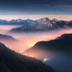 Mountains in fog at beautiful night in autumn in Dolomites, Italy - PhotoDune Item for Sale
