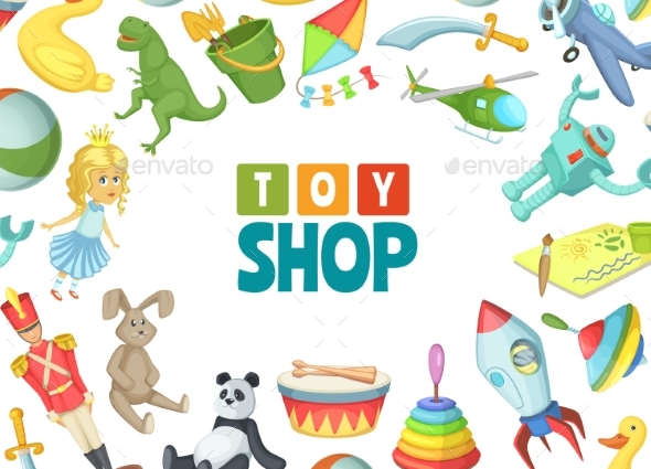 Vector Cartoon Children Toys Background with Place - Objects Vectors