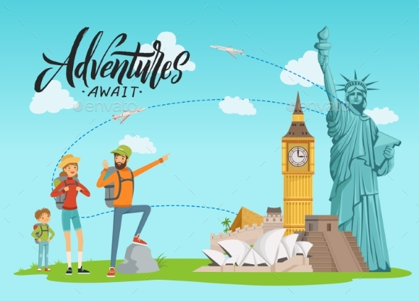Vector Concept Illustration with World Sights - People Characters