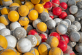 Many of plastic buoys, yellow, red and white color for sporting events covered in bloom after water - PhotoDune Item for Sale