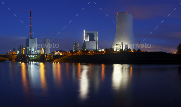 Power Stations At Night Panorama - Stock Photo - Images