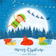 Elf on Winter Background with Gifts and Christmas Lights - GraphicRiver Item for Sale