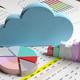 Cloud computing stats. Blue cloud on data analysis charts. 3d illustration - PhotoDune Item for Sale