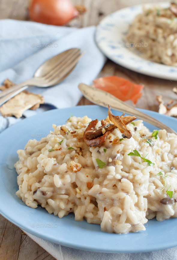 Risotto with porcini mushrooms - Stock Photo - Images