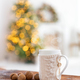 Cup of warm beverage on the Christmas background - PhotoDune Item for Sale