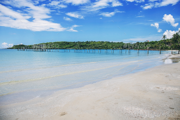 Sand beach with blue sky - Stock Photo - Images