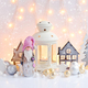 Christmas composition with lantern, gnome, toy houses, spruces a - PhotoDune Item for Sale