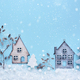 Christmas composition with toy houses, twigs and trees with snow - PhotoDune Item for Sale