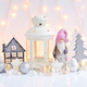 Christmas composition with lantern, gnome, toy house, spruces an - PhotoDune Item for Sale