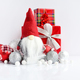 Christmas composition with gnome, gifts and festive decorations - PhotoDune Item for Sale