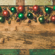 Colorful christmas tree decoration balls on wooden tray background - PhotoDune Item for Sale