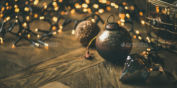 Christmas tree toy decoration balls and light garland, copy space - Stock Photo - Images