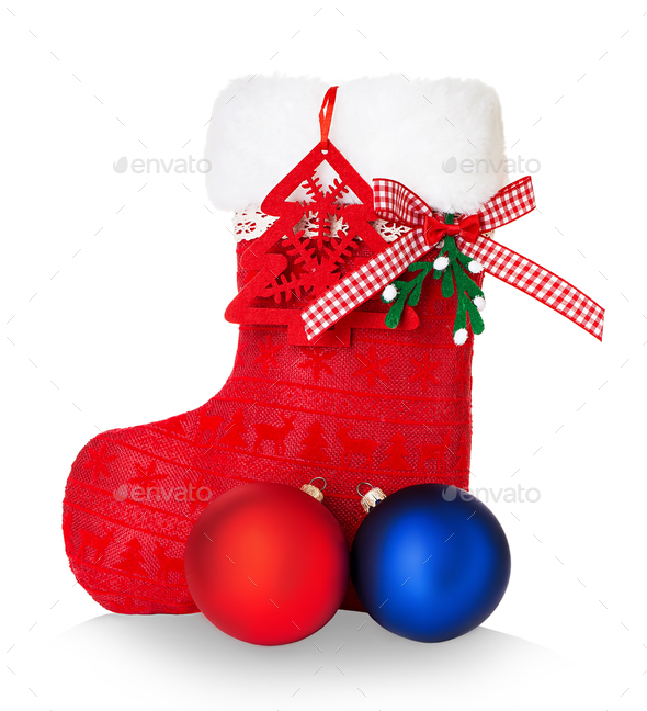 Red Santa's boot isolated on white background. - Stock Photo - Images