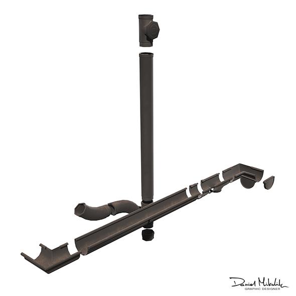 Old Black Gutter System PBR - 3DOcean Item for Sale