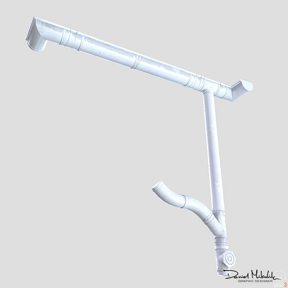 White Plastic Gutter System PBR - 3DOcean Item for Sale