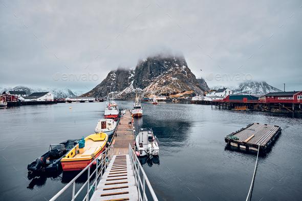 Hamnoy fishing village on Lofoten Islands, Norway - Stock Photo - Images