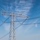 high voltage power transmission tower with blue sky - PhotoDune Item for Sale