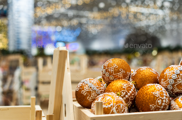 Bright Christmas balls for the festive Christmas tree - Stock Photo - Images