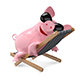 3D Illustration Pig on a Deck Chair - GraphicRiver Item for Sale