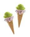 Mixed ice cream scoops with cone on white background - PhotoDune Item for Sale
