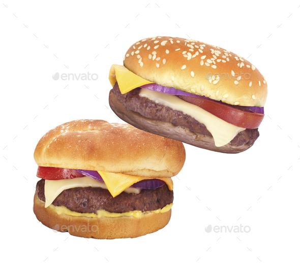Two Big hamburgers on white background - Stock Photo - Images