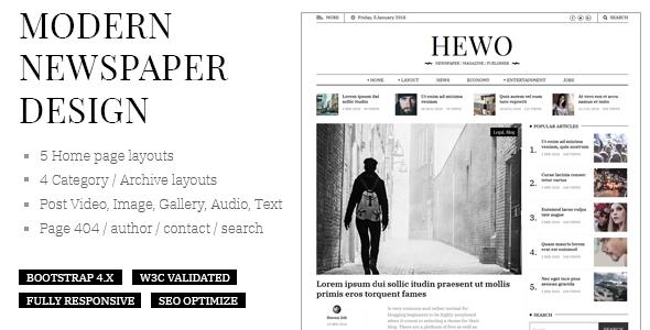 Hewo - Modern Newspaper HTML Template - Site Templates